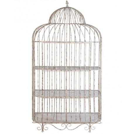 Metalowy regał w kształcie klatki dla ptaszków