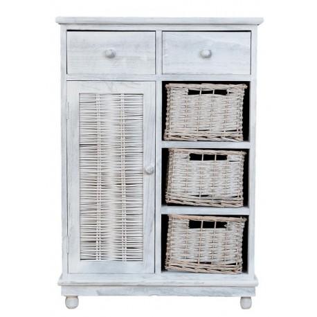 jasno szara komoda z dwoma szufladkami, półką za drzwiczkami oraz trzema półkami wypełnionymi koszami