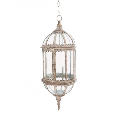 Oryginalna lampa prowansalska do zawieszenia na suficie została wykonana ze szkła i metalu. Zdobią ją postarzenia.