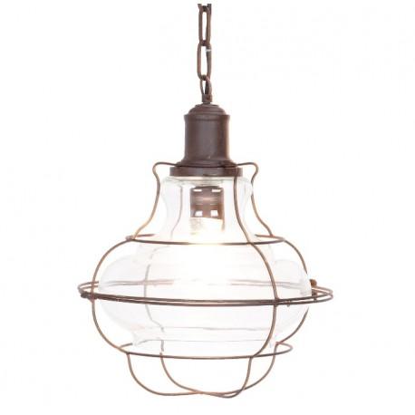 Lampa w stylu industrialnym z metalu i szkła oświetli Twój salon, łazienkę oraz kuchnię. Klosz z metalowej kraty to jej element rozpoznawczy.