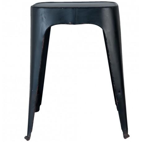 Czarny stołek wykonany z metalu