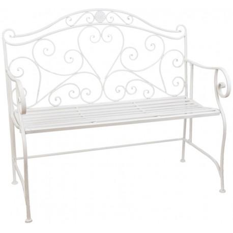 Piękna ławka w stylu prowansalskim z ozdobnym oparciem