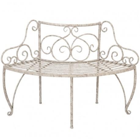 Stylowa ławka prowansalska do ogrodu stylizowana antycznymi postarzeniami.