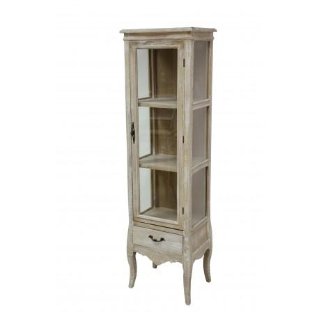 Bielona witryna prowansalska z szklanymi drzwiami wyeksponuje Twoje najcenniejsze skarby na trzech półkach!