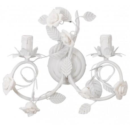 Biały podwójny kinkiet ozdobiony różami