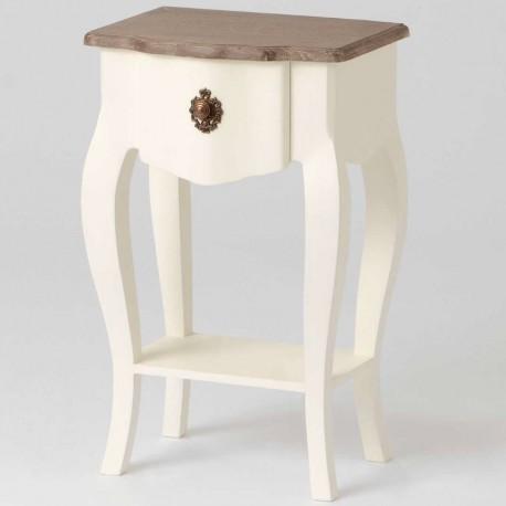 kremowy stolik z brązowym blatem, szufladką i półką