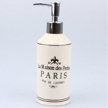 cermiczny dozownik do mydła ze srebrną pompką i czarnymi francuskimi  napisami