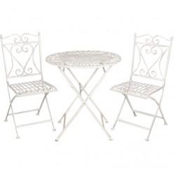 Meble Ogrodowe Prowanalskie Stolik z Krzesłami 7 Clayre & Eef