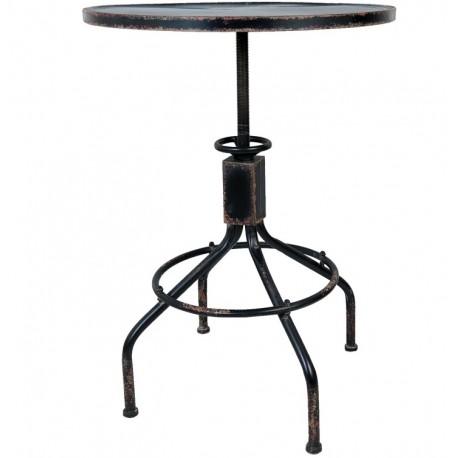 Stolik w stylu industrialnym w kolorze czarnym na czworonożnej podstawie.