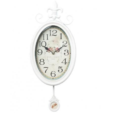 Owalny zegar ścienny w białym kolorze posiadający wahadło oraz ozdobną tarczę z różami