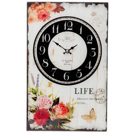 Prostokatny zegar szklany ozdobiony motywem kwiatów