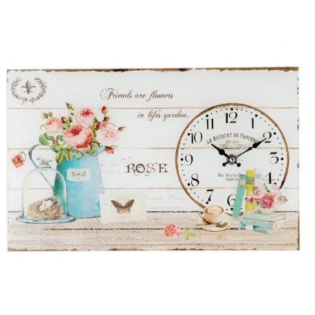 prostokatny zegar szklany z motywem kwiatów i napisów
