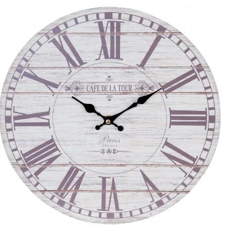 Duża jasna tarcza zegara została ozdobiona rzymskimi cyframi