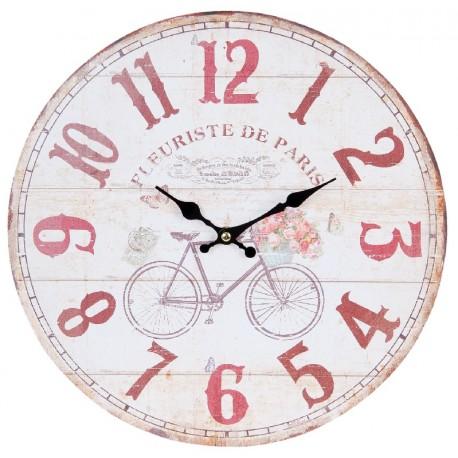 Jasna tarcza zegara ozdobiona czerwonymi cyframi oraz grafiką roweru