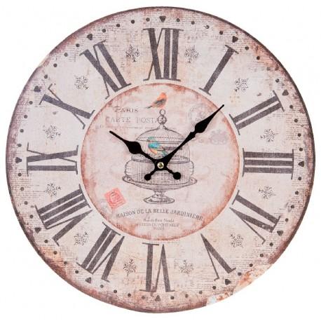 Jasno różowy zegar w stylu prowansalskim posiada rzymskie cyfry oraz grafikę przedstawiającą klatkę dla ptaszków
