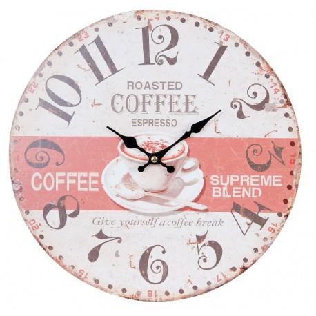 Okrągły zegar w biało różowej kolorystyce z filiżanką