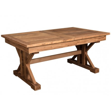 prostokatny solidny stół drewniany w brązowym kolorze