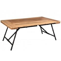 Stół z metalowymi nogami i prostokatnym drewnianym blatem