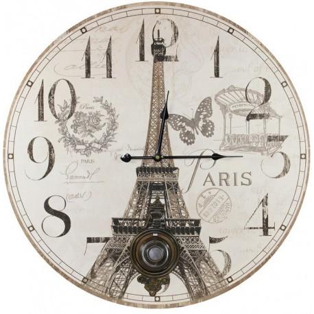 Jasno szary obraz posiadający paryski motyw wieży Eiffla a na nim umieszczone zostało wahadło.