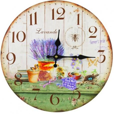 Jasny zegar ścienny z motywem lawendy w naczyniu.
