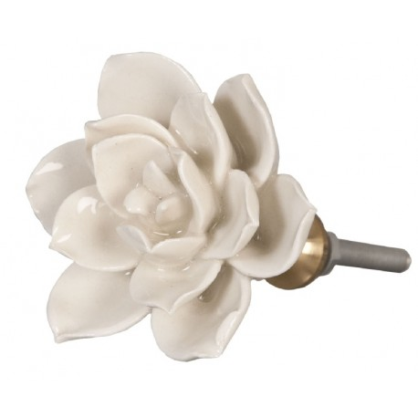 Gałki Meblowe Kwiatek Biały