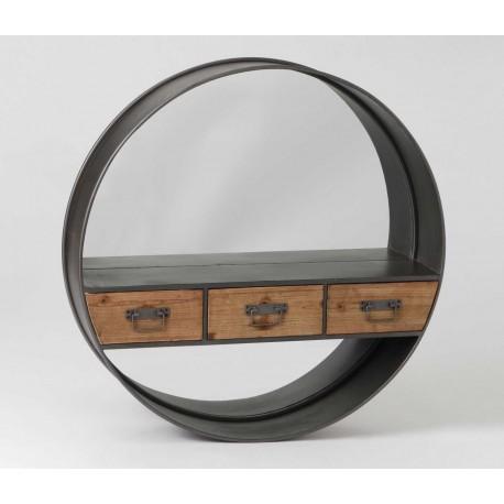 metalowa okrągła półka z trzema drewnianymi szufladkami
