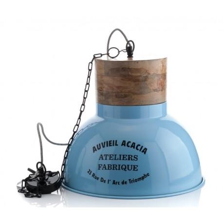 metalowo drewniana lampa w niebieskim kolorze z napisami