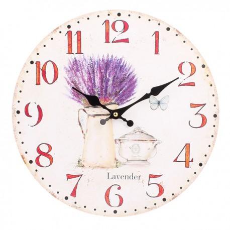 jasny zegar ozdobiony lawendą w dzbanie oraz czajniczkiem