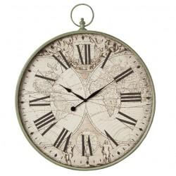 Duży Zegar Metalowy z Mapą