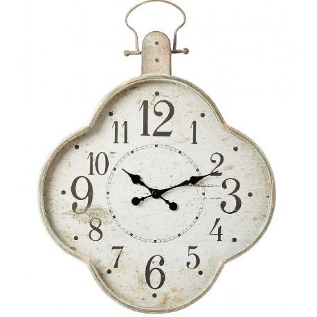 Zegar ścienny posiadający kształt kwiatka z metalową ramą lekko postarzaną
