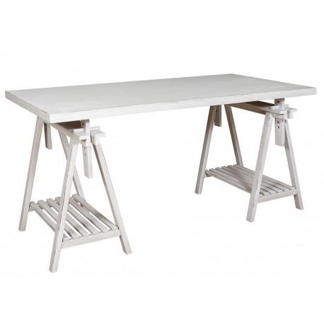 drewniany stolik z prostokątnym blatem posiadający dwie półki u dołu