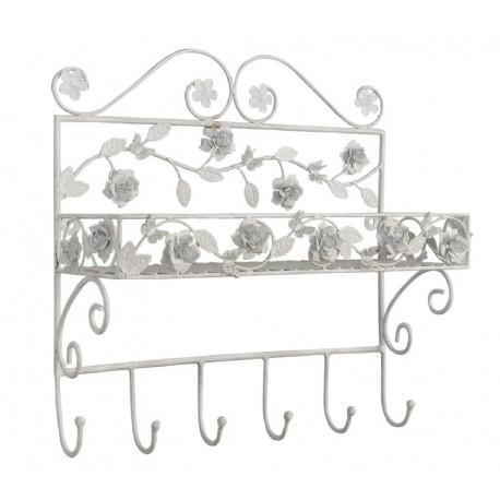 metalowy, biały wieszak z półką ozdobiony kwiatkami. Znajduje się tu sześć haczyków.