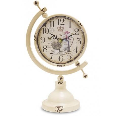 stojący zegar w metalowej ramie o kształcie globusa z prowansalską tarczą
