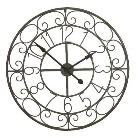 Metalowy zegar w ciemnym kolorze posiadający ozdobne  kształty