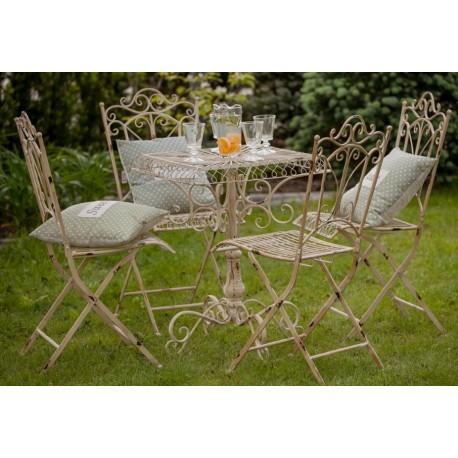 Metalowy stolik prowansalski z kolekcji Aluro to uroczy mebel będący propozycją do zaprojektowania romantycznej sceneri w ogrodzie lub na tarasie.