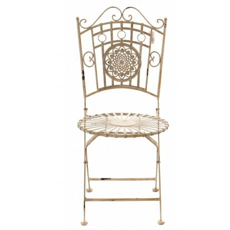 Piękne, jasne krzesło wykonane z metalu mające okrągłe siedzisko oraz ozdobne oparcie