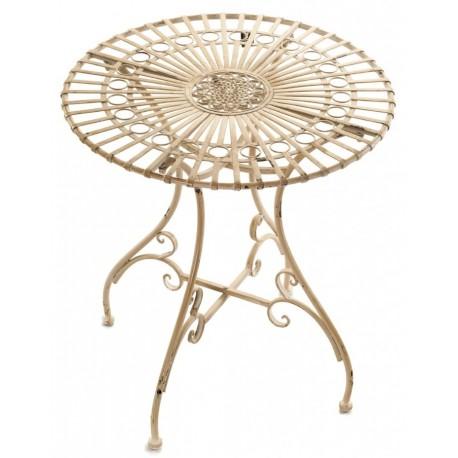 Jasny stolik wykonany z metalu posiadający okrągły blat z wzorem kwiatu po śrdoku