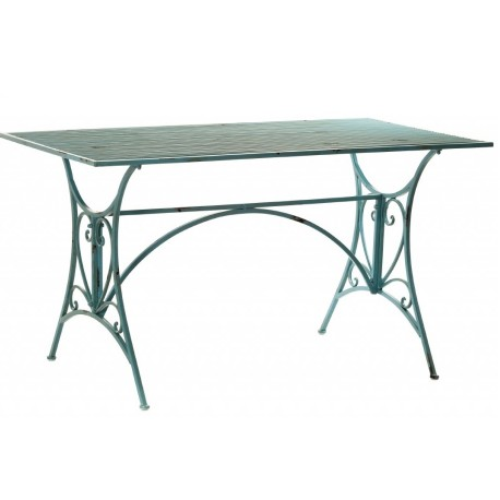 Metalowy stolik w niebieskim odcieniu posiadający prostokątny blat