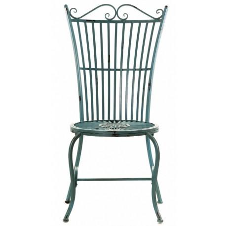 Metalowe krzesło z okrągłym siedziskiem i ozdobnym oparciem
