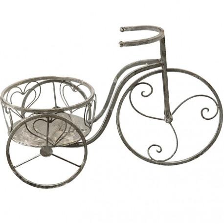 metalowy kwietnik w postaci postarzanego roweru