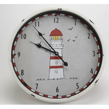 Okrągly zegar w metalowej ramie posiadający na tarczy obraz latarni morskiej