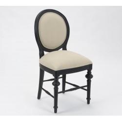 Krzesło Tapicerowane w Stylu Prowansalskim Czarne Livio