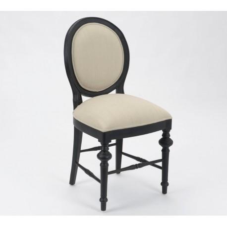 Czarne krzesło z kolekcji Livio z kontrastującą z nim tapicerką o jasnym wybarwieniu.