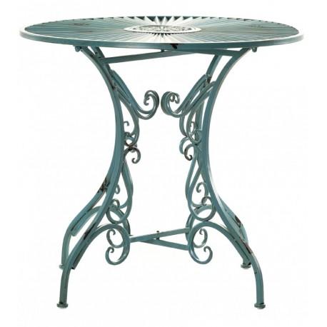 Metalowy stolik Aluro z kolekcji mebli ogrodowych w zielonym kolorze możesz zamówić w komplecie z krzesłami.