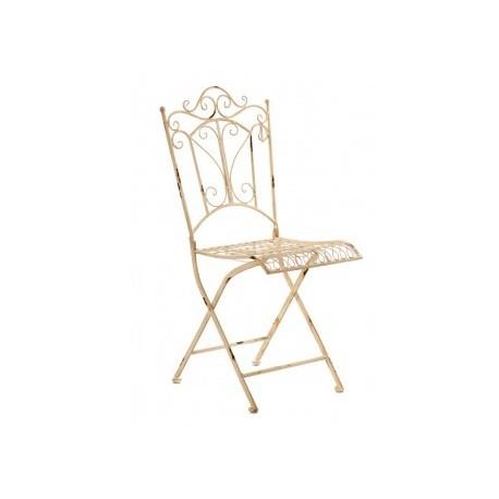 ozdobne kremowe krzesło wykonane z metalu