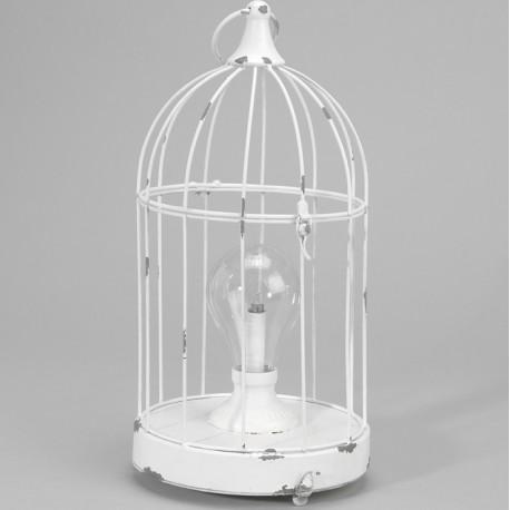 latarnia o kształcie białej, postarzanej klatki dla ptaszków, wykonanej z metalu