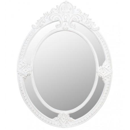 Owalne lustro w białej tarczy z pięknym dekorem