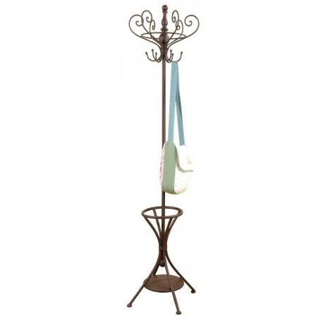 metalowy wieszak na ubrania posiadający brązowy kolor i stojak a parasole