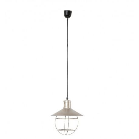 Jasna lampa industrialna zrobiona z metalu, idealna do salonów.