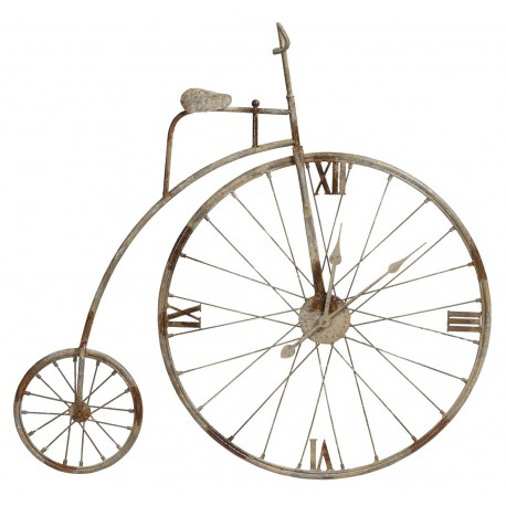Ozdobny zegar wykonany z metalu o kształcie starodawnego roweru